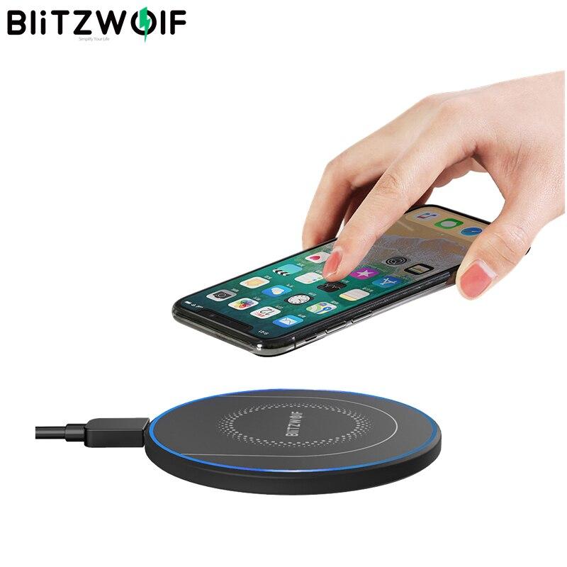 BlitzWolf BW-FWC7 Qi chargeur sans fil rapide 15W 10W 7.5W 5W pour iPhone 11 Pro XS MAX S9 Note 9 chargeurs de téléphone portable