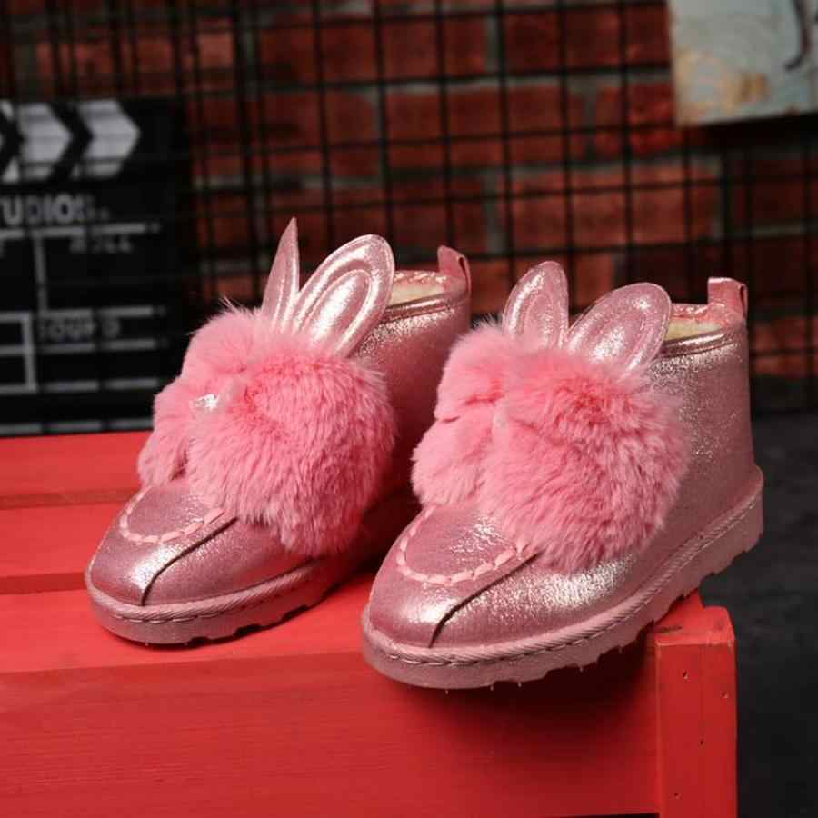Dwayne Klasik Kadın Botları Tavşan kulaklar Payetli Taklit Kürk Rahat Sıcak Avustralya Botları Moda Kadın Kar Botları Kış 786