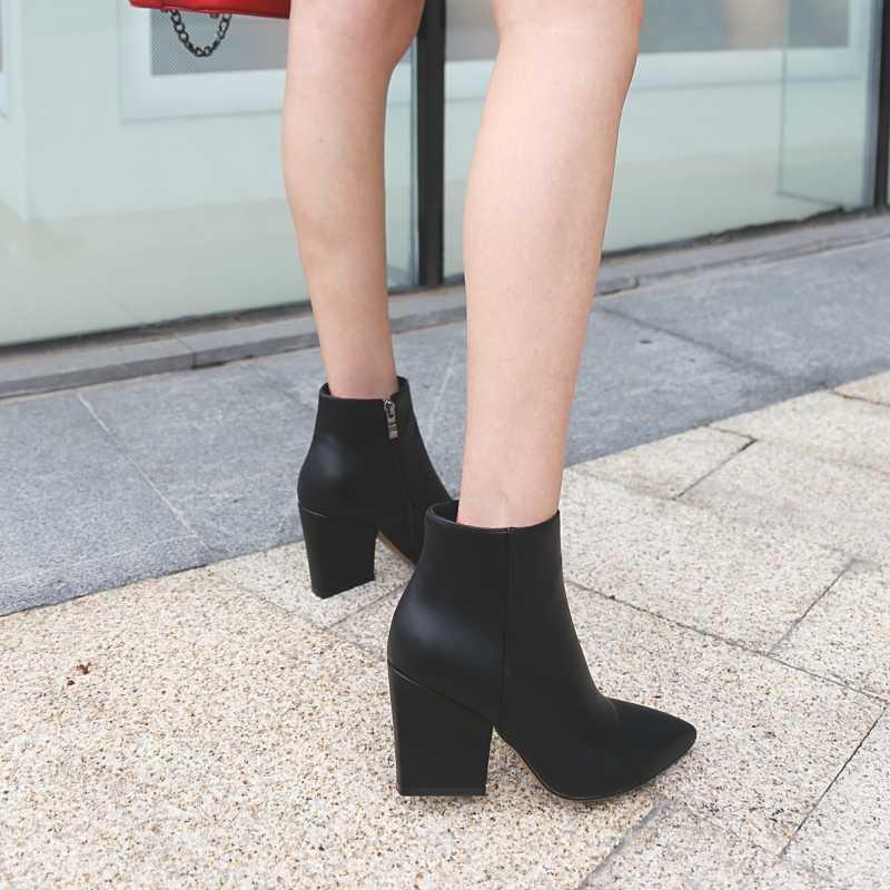 BONJOMARISA ขนาด 32-43 ฤดูหนาวชี้เท้าข้อเท้าเชลซีรองเท้าผู้หญิง 2020 Mature สีดำ OL รองเท้าผู้หญิงรองเท้าส้นสูงรองเท้าผู้หญิง