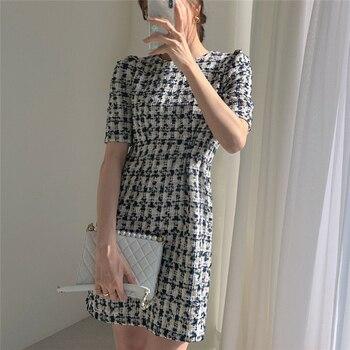 Colorfaith/Новинка 2021 года; Женские летние платья; Модное Элегантное клетчатое винтажное мини-платье с высокой талией и пышными рукавами; DR2152 5
