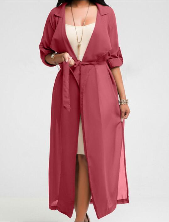 Fashion Casual Women Ladies Long Length Trench 3 Colors Sashes Belt Chiffon Solid Slim Ankle-Length Trench
