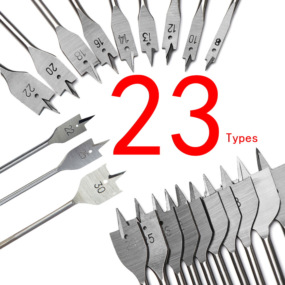 Wholesales 6-50mm Flat Drill High-carbon Steel Wood Flat Drill Set Woodworking Spade Drill Bits Durable Woodworking Tool Sets
