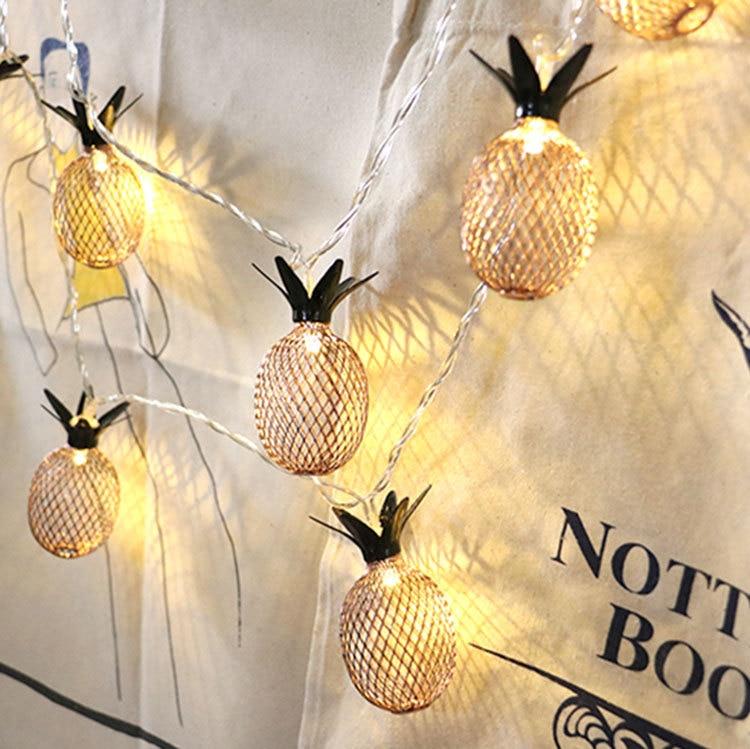 Led Pineapple Lamp String Gold Battery Box Lamp String Room Decoration Lamp Wedding Lantern String Christmas Outdoor Decoration