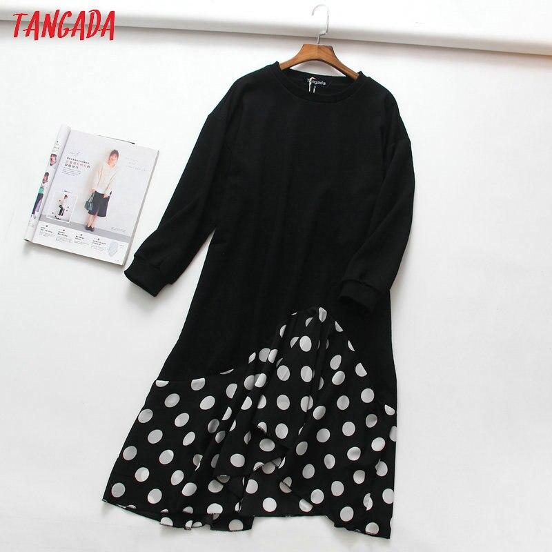 Tangada Winter Polka Dot Black Long Hoodie Dress Oversized O Neck Patchwork Ladies Women  Chic Dress School Vestidos XLJ11