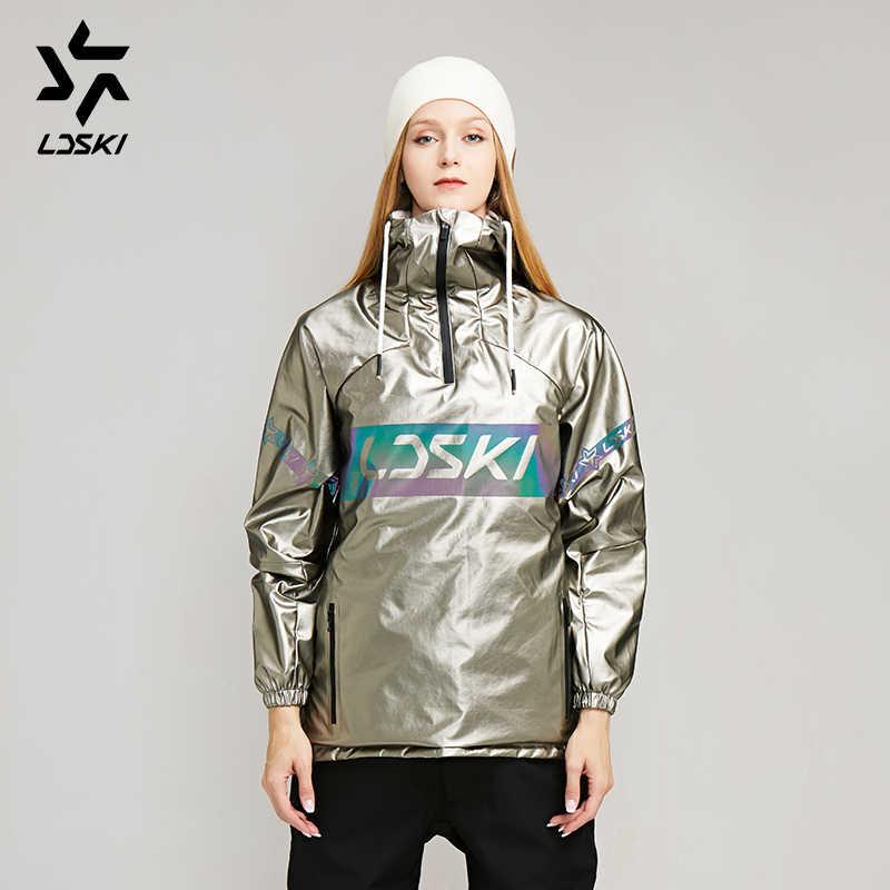 LDSKI kayak ceket Bling Bling metalik serisi Hoodie kentsel sokak stili su geçirmez kabuk cep kazak snowboard ceket