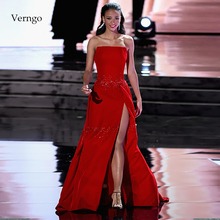 Verngo A line Evening Dress With Slit Sexy Evening Dresses Long  Formal Dress Party Red Stain Prom Gown Vestido De Festa