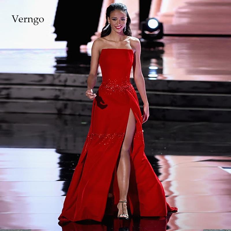Verngo une ligne robe De soirée avec fente Sexy robes De soirée longue robe formelle fête rouge tache robe De bal Vestido De Festa