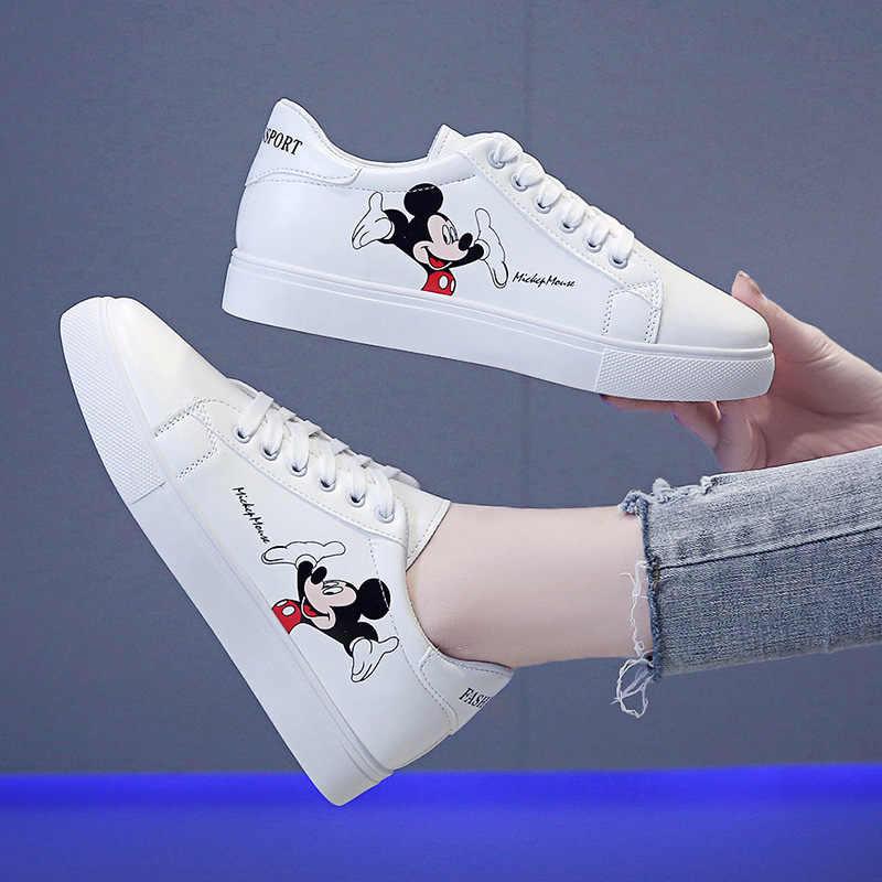 Disney cartoon white shoes for girls