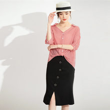 Silk suit women in the summer of 2020 the new women's temperament commuter mulberry silk striped shirt + skirts YN2193(China)