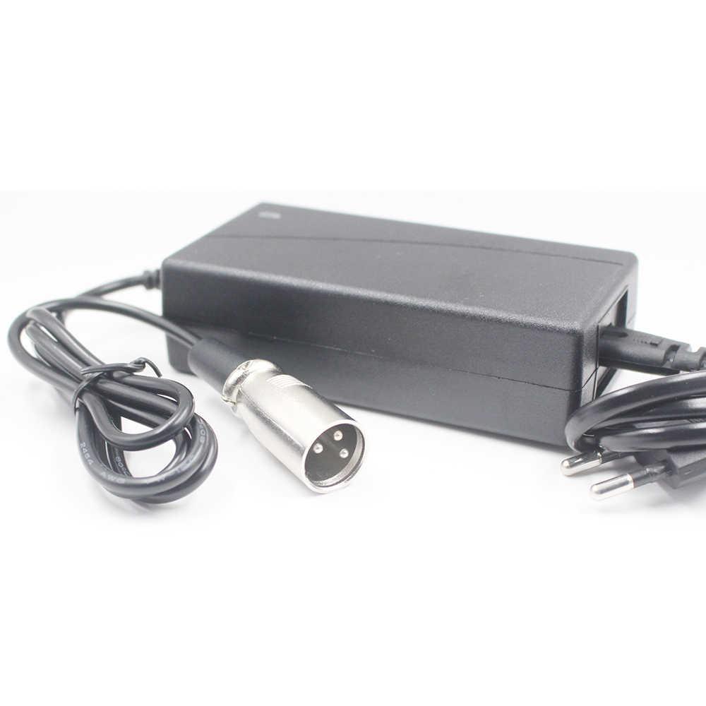 29.4V 2A 29.4V2A rower elektryczny ładowarka do 24V 18650 7 serii bateria litowa z XLR 3-Pin złącze wtykowe ue usa AU UK