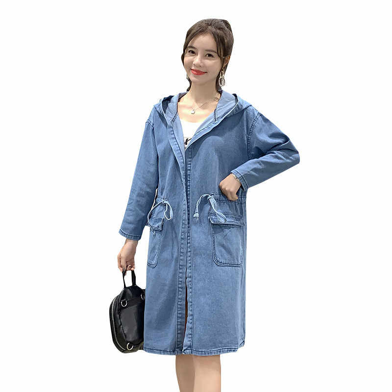 2020 Fashion Denim Trenchcoat Vrouwen Lente Herfst Lichtblauw Hooded Jeans Bovenkleding Casual Tops Plus Size 4XL Jeans Geul 3231