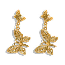 Vintage Butterfly Inlay Fresh Pearl Sea Shell Star Chic Drop Trendy Conch Retro Gold Silver Color Dangle Earrings Female Gift gold color with star hotpink butterfly star drop earrings