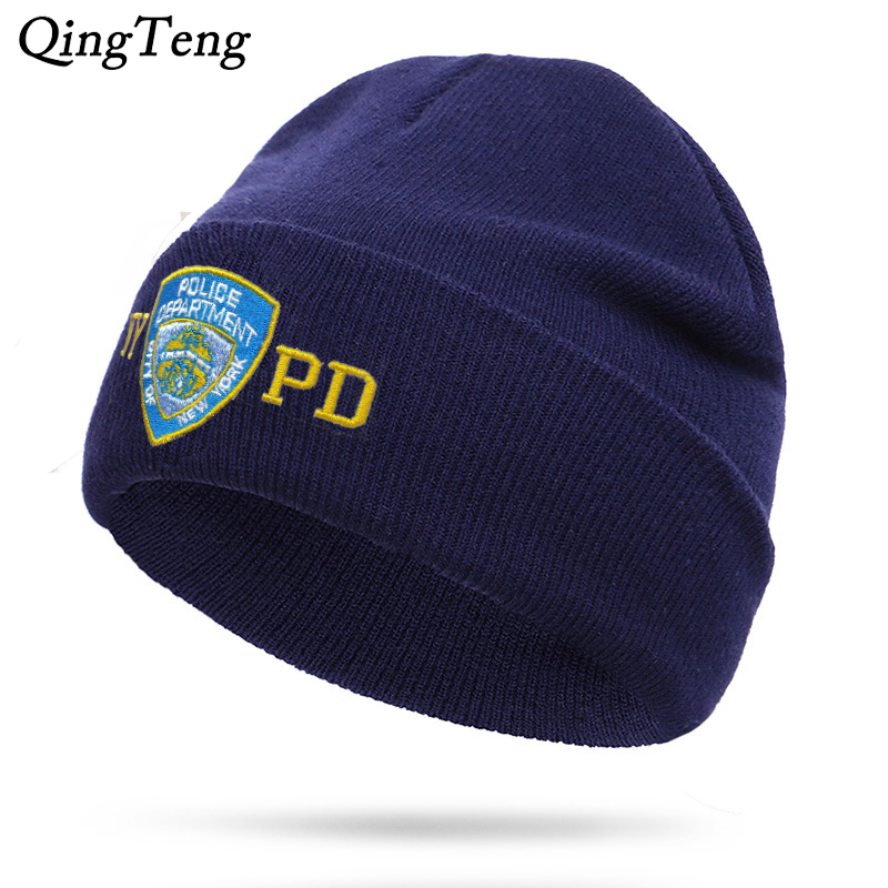 NYPD Police Winter Warm Skullies Beanies Men Thick Beanie Hats Male Outdoor Sport Casual Bonnet Cap Double Layer Knitting Hat