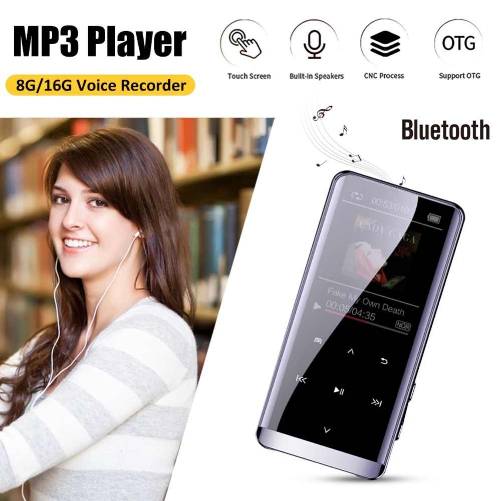 OTG MP3 reproductor grabadora de voz Bluetooth 4,2 pantalla táctil Mini HIFI 5D MP3 reproductor de música 8GB Ultra delgado 1,8 pulgadas MP3 jugador