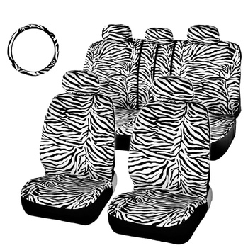 Car Short Plush White Zebra Seat Covers Set Universal Fit Most Car Seats Steering Wheel Cover Shoulder Pad Car Seat Cover