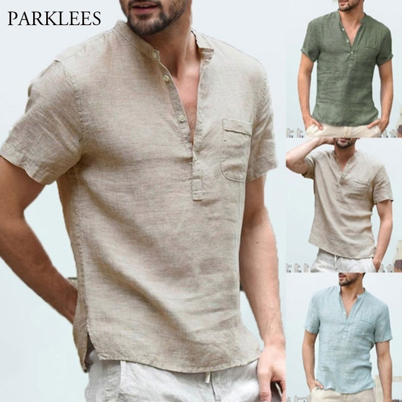 Linen Shirts Men 2020 Summer Short Sleeve Henley Shirt Chemise Homme Loose Button Shirt Breathable Solid Male Shirts with Pocket