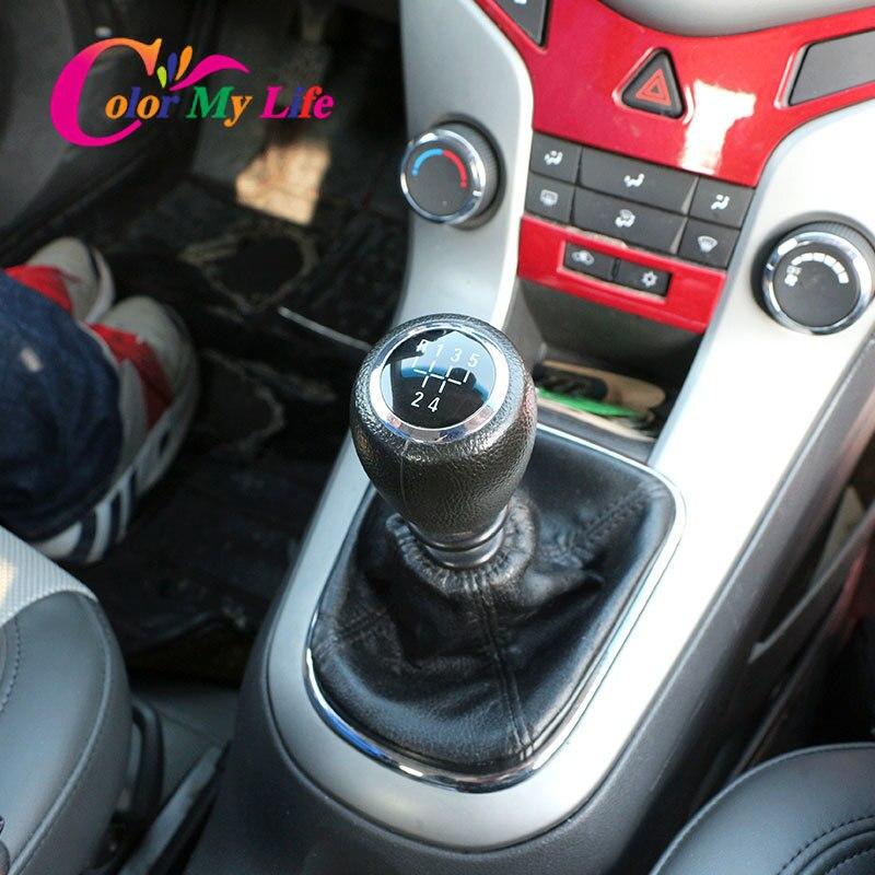 רכב Gear Shift Knob מנוף מקל עבור שברולט שברולט Cruze 2008 2009 2010 2011 2012 MT ידית גייטר אתחול כיסוי מקרה 5 6 מהירות