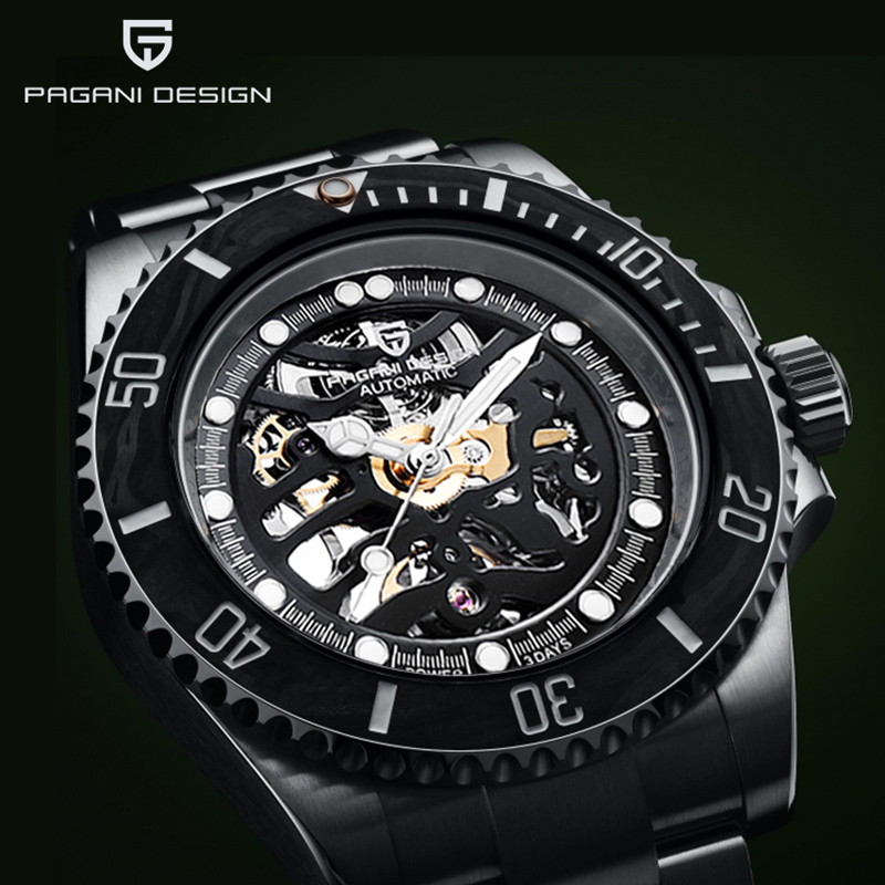 PAGANI DESIGN 2020 New Men's Mechanical Watches Skeleton Automatic Watch Men <font><b>100M</b></font> Waterproof Sapphire Mirror Clock Reloj Hombre image