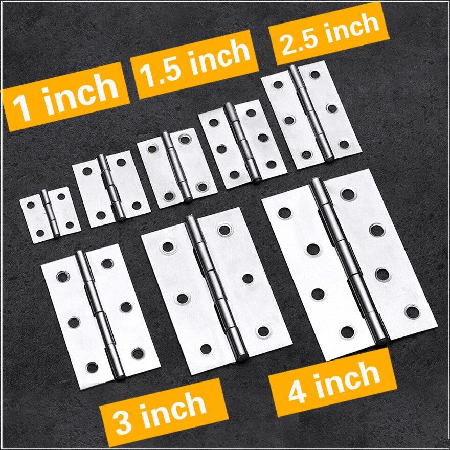 2Pcs Hinge Cabinet Doors Stainless Steel Flat  1 Inch 1.5 Inch 2inch 2.5 Inch 3inch 4inch Windows Hinge Wooden Box Mini Hinge