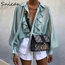 Blouse Chic Pleated-Sleeve Ruffle Office Ladies Fashion Women Female Tops Snican Camisas