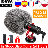 BOYA-Micrófono de grabación Universal para cámara DSLR, micrófono de grabación de vídeo para iPhone, Android, teléfonos inteligentes, Mac, tableta, BY-MM1