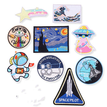Space Alien Rocket Van Gogh Star Night Mountain Wave Patch for Clothing Punk Embroidered Patches On Clothes DIY Parches Applique image