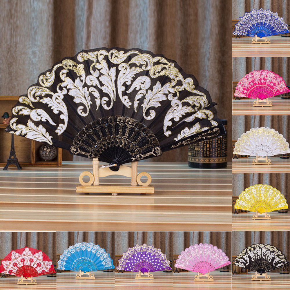 1 Pcs Chinese/Spanish Style Fan Lace Silk Folding Hand Held Flower Fan For Dance Wedding Party Decoration Tool