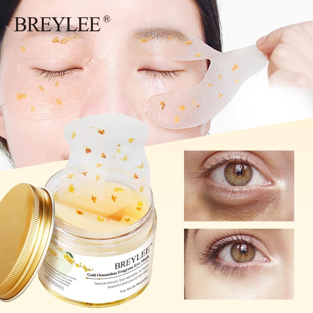 BREYLEE Gold Osmanthus Fragrans Eye Mask Collagen Gel Eye Patch Face Skin Care Remove Dark Circles Lifting Firming Serum 50pcs