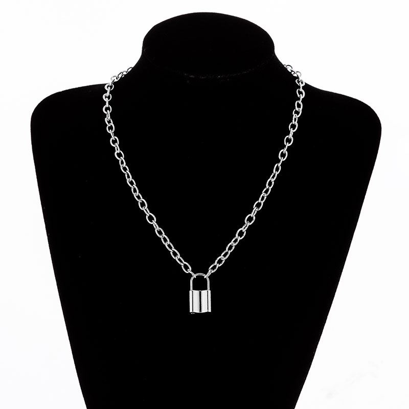 H96d4ece72cab4a639ef6fe6e0aea48a0F - KMVEXO Multilayer Lock Chain Necklace Punk Padlock Key Pendant Necklace Women Girl Fashion Gothic Party Jewelry