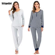 2020 Женская хлопковая теплая Пижама дамские пижамные комплекты