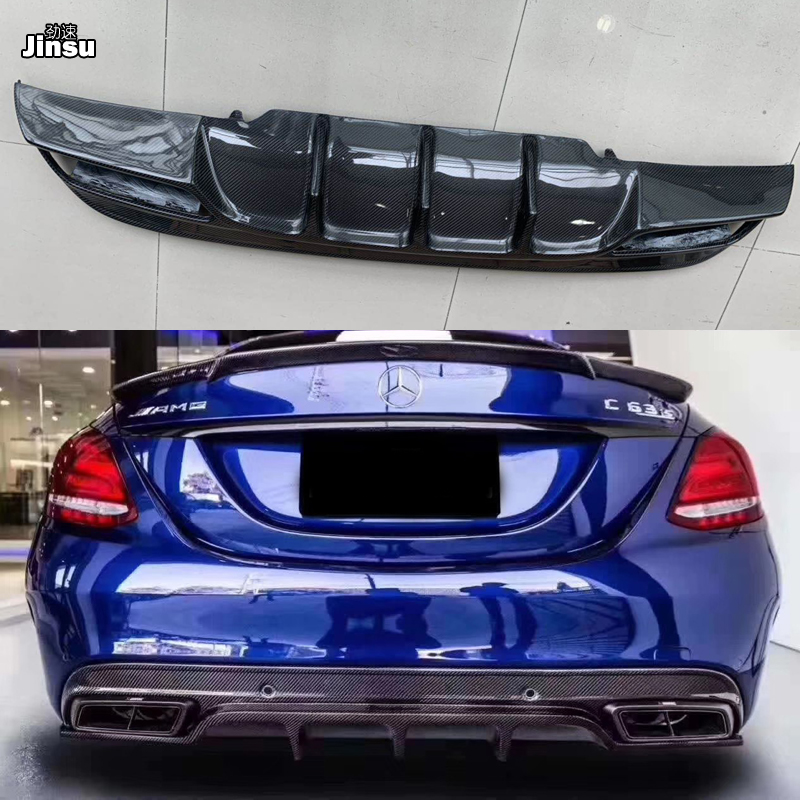 For benz c class c250 sport bumper w205 c63 AMG FD style carbon fiber rear bumper diffuser spoiler lip not fit standard edition image