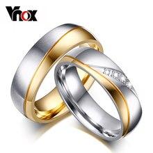 Vnox Yüzük Kadın Man Düğün Yüzük Altın renkli 316l Paslanmaz Çelik Promise Takı
