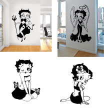 17 Designs Betty Boop Wall Decal Angel Wings Devil Chick Kiss My Ass Vinyl Sticker CHILDREN BEDROOM MURAL NURSERY HOME DECOR(China)