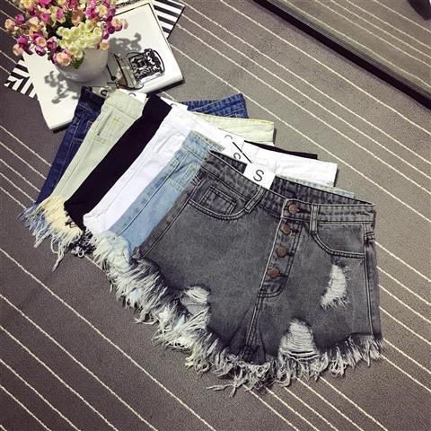 Korea Fashion Summer Women High Waist Button Sexy Hole Rippe Jean Shorts Cotton Demin Loose Shorts Plus Size Hot Shorts D212 3
