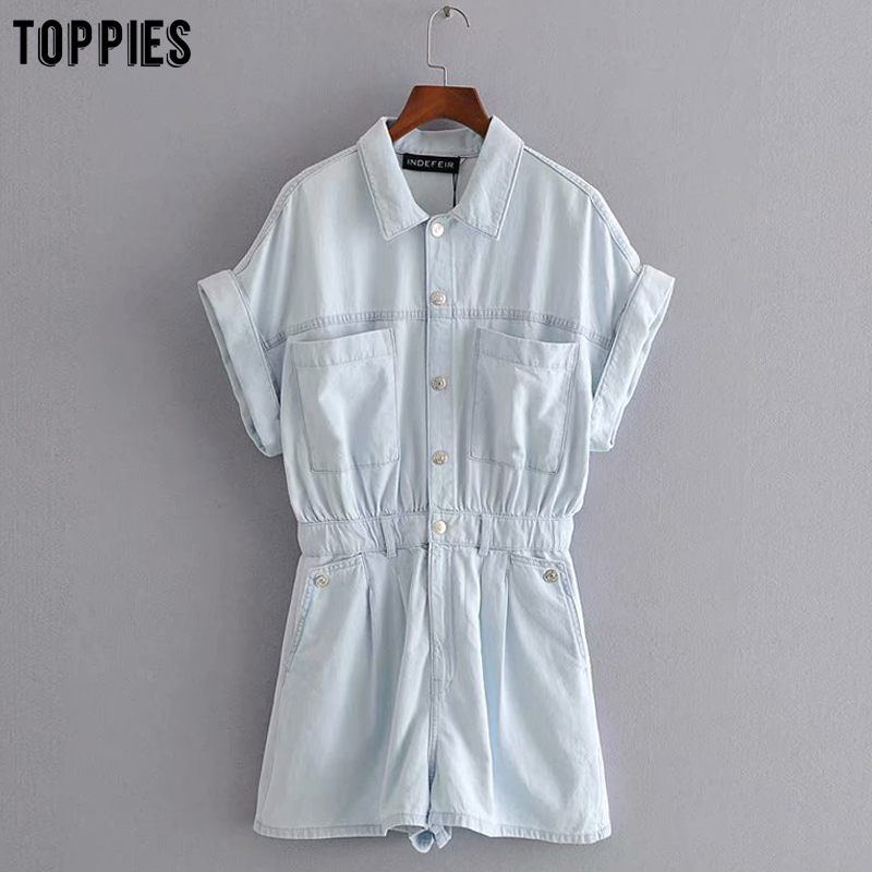 Toppies Vintage Blue Denim Jumpsuits Women Summer Short Sleeve Button Playsuits Casual Rompers