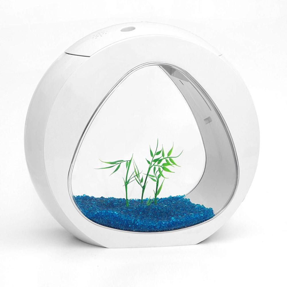 Réservoir de poisson acrylique créatif petit Nano courbe bureau Table Aquarium réservoir de poisson Tropical LED éclairage poisson rouge Betta bol de poisson