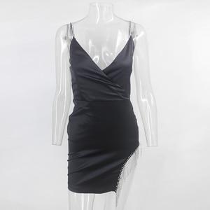 Image 5 - Ceremokiss Summer Sexy Tassel Diamond Party Dress Women Bodycon Night Club Satin Dresses Spaghetti Strap Elegant Mini Vestidos