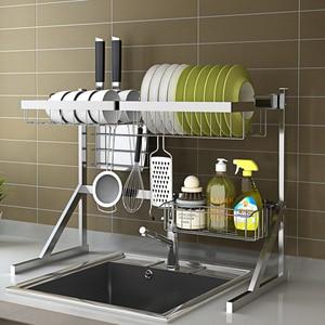 Image 3 - Évier, étagère pour le séchage de la vaisselle, support pour la vaisselle, gain de place, en acier inoxydable