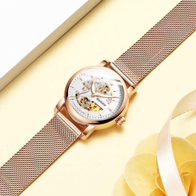 HAIQIN femmes montres femmes montres haut de gamme sport de luxe montre-bracelet dames montre mécanique mode maille relogio feminino