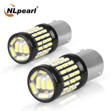 цена на NLpearl 2x Signal Lamp 1157 Canbus P21 5w Led Bulb 12V 60SMD P21w 1156 Ba15s Led Bau15s Reverse Brake Light Tail Signal Light