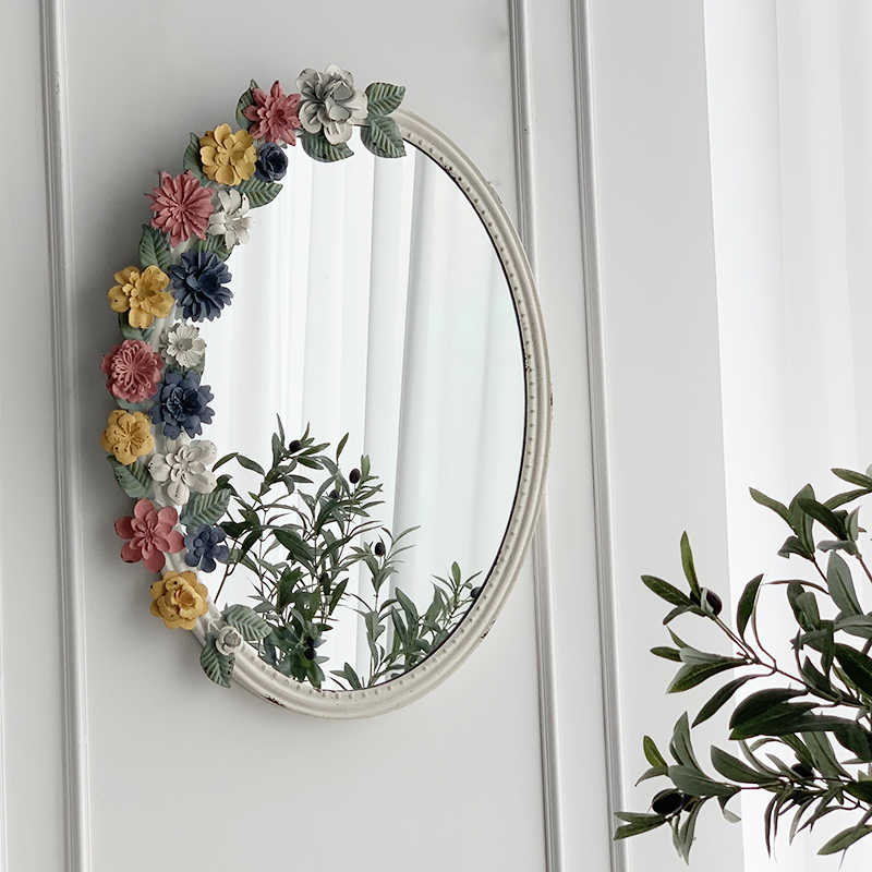 Retro Palace Flower Oval Shape Bedroom Dressing Makeup Mirror Bathroom Home Hanging Wall Mirror Decoration Accessories Decorative Mirrors Aliexpress