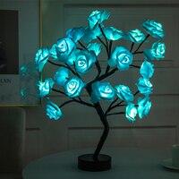 Lámpara de mesa LED con USB, árbol de flores, decoración del hogar, luces de mesa, fiestas, Navidad, boda, dormitorio