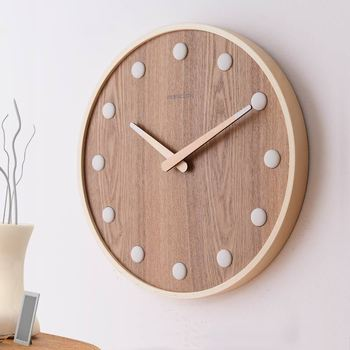 Ceramics Hour Hand Wall Clock, 14-Inch Silent Wood Wall ClocksNon-Ticking Quartz Round for Office Bedroom Living Room Kitchen