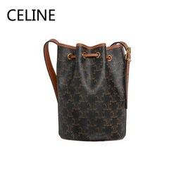 CELINE роскошная сумка-ведро из телячьей кожи Toile Triomphe, регулируемый кожаный ремешок, сумки через плечо для женщин 191142CAA.30RD