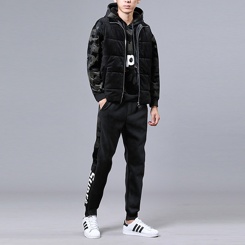 Supre Letter Print Thick Winter Men Tracksuit Hooded Hoodies Track Suit Plus Velvet Camouflage Sports Sweatsuits Casual Men Set