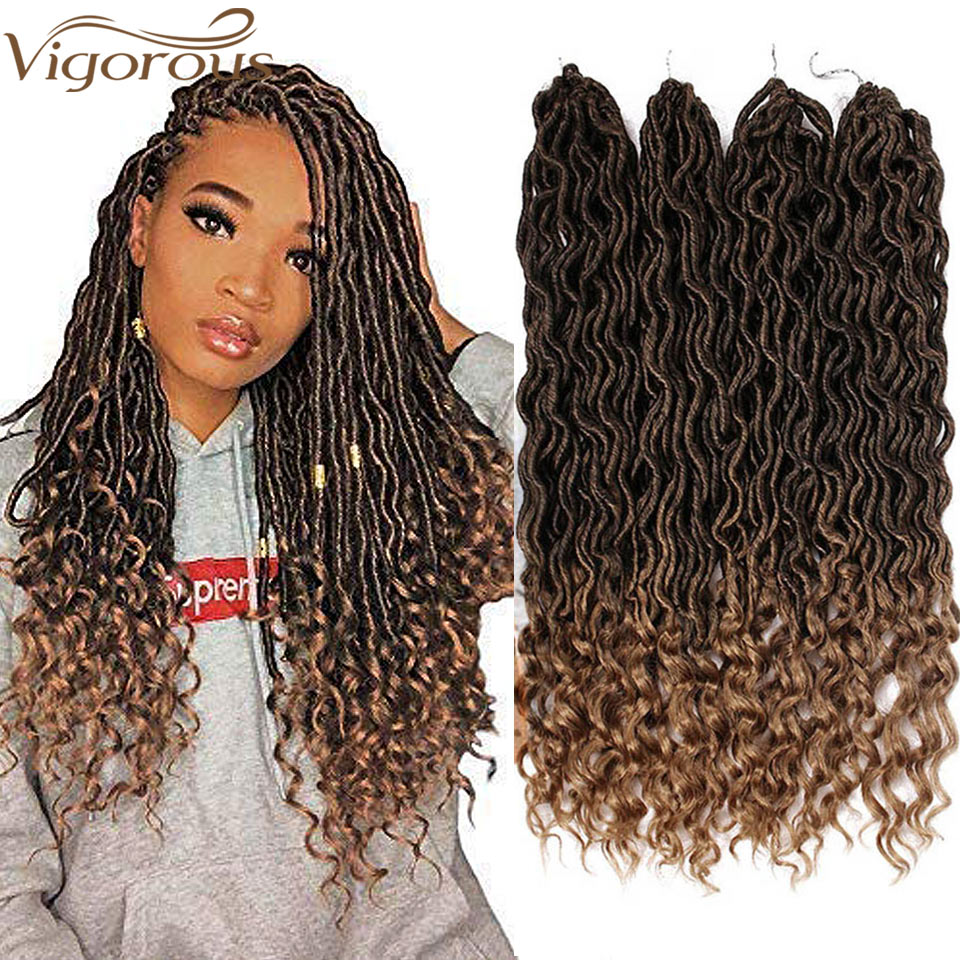 Vigorous Faux Locs Crochet Braids Synthetic Crochet Braids Ombre  Braiding Hair Bohemian Locks 18 Inch 24 Stands