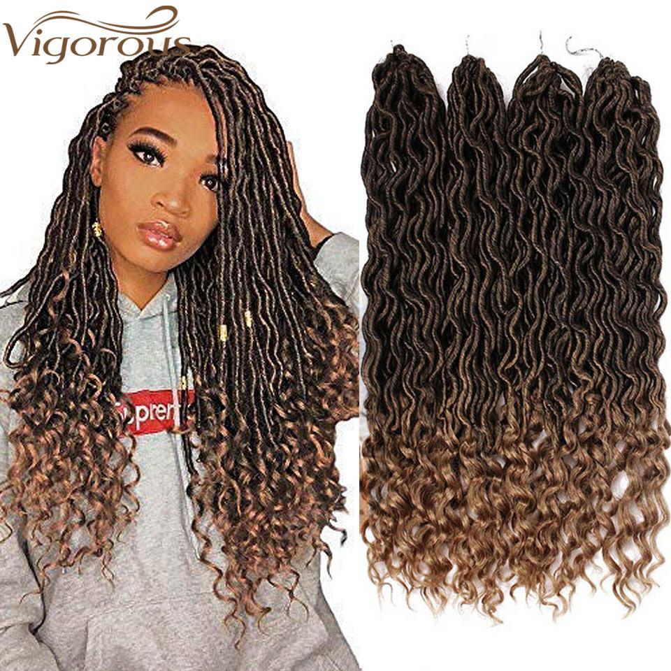 Vigorous Faux Locs Crochet Braids Synthetic Crochet Braids Ombre  Braiding Hair Bohemian Locks 18 Inch 24 Stands