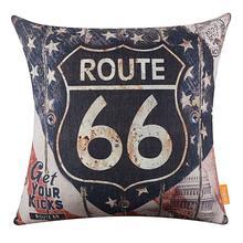Vintage mapa americano Ruta 66 patrón transpirable Lino almohada funda extraíble cojín cubierta sofá cama coche Decoración