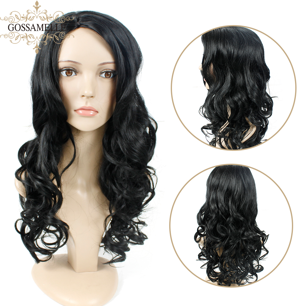 Gossamelle Long Wavy Wig Synthetic Hair Wigs For Women Side Part Jet Black Cosplay Wigs High Temperature Fiber
