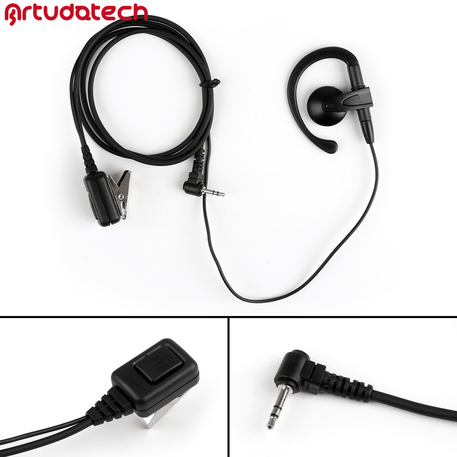 Artudatech 1Pcs 2.5mm Earhook Earpiece Headset PTT Mic For <font><b>Motorola</b></font> T6200 T6220 <font><b>T5422</b></font> Walkie Talkie Accessories image